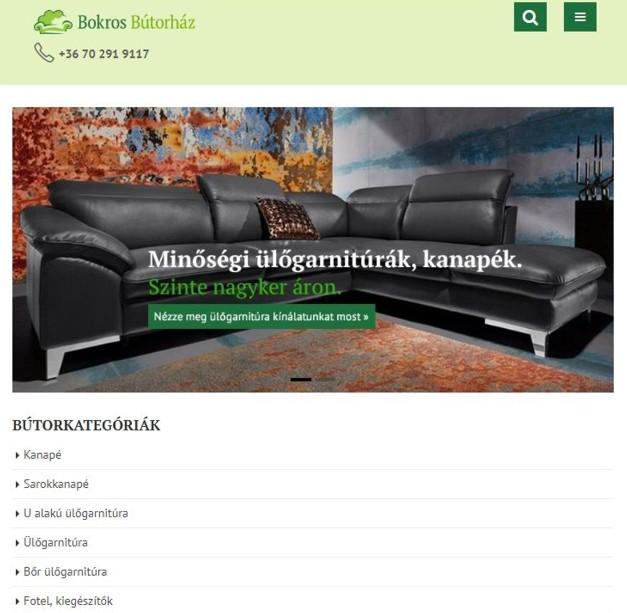 A Bokros Bútorház - ülőgarnitúra specialista honlapjának részlete
